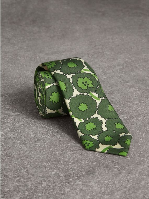 Slim Cut Abstract Floral Print Silk Tie in Tourmaline Green