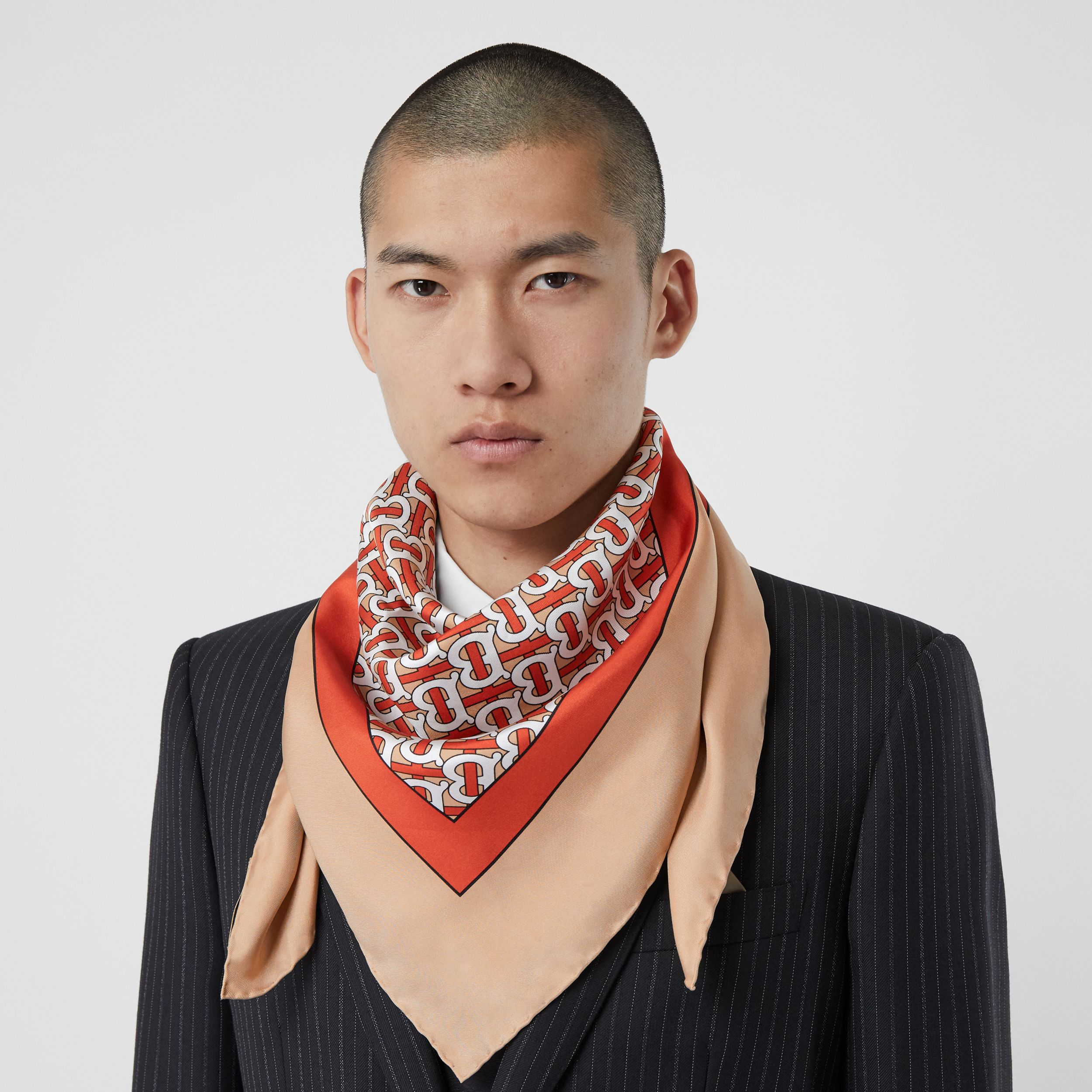 Monogram Print Silk Square Scarf in Vermilion - Women | Burberry - 4