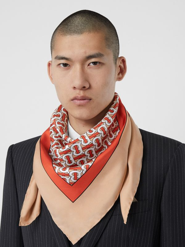 Monogram Print Silk Square Scarf in Vermilion - Women | Burberry - cell image 3