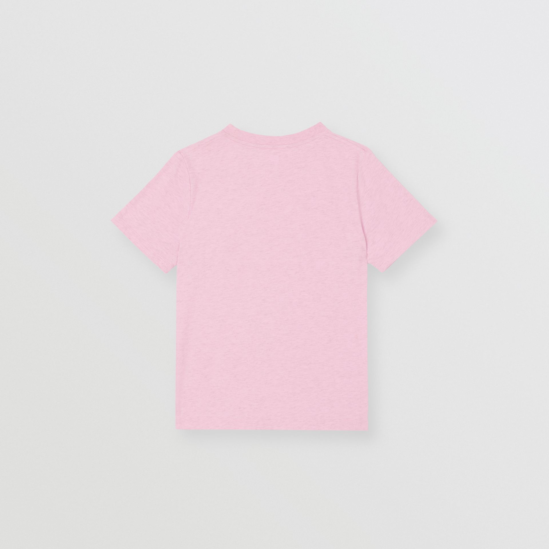 Logo Print Cotton T-shirt in Pale Neon Pink | Burberry Singapore - gallery image 3