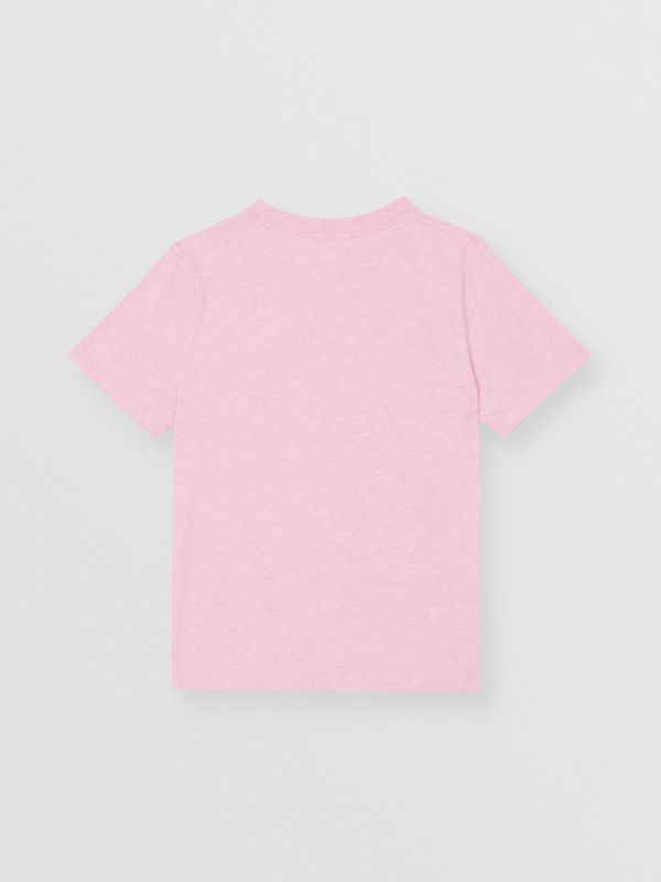 Logo Print Cotton T-shirt in Pale Neon Pink | Burberry - cell image 3