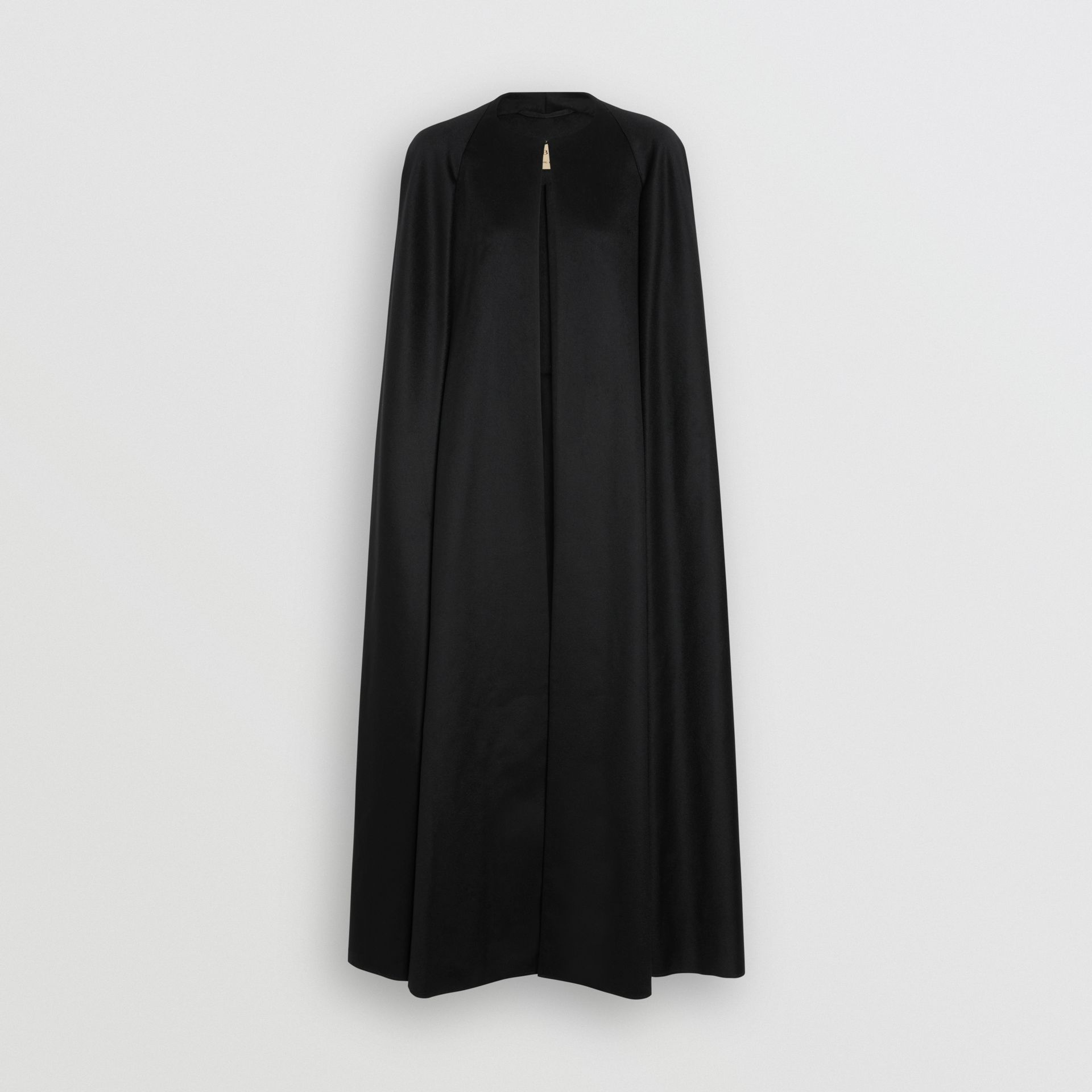 Long Doeskin Wool Cape in Black - Women | Burberry United Kingdom - gallery image 3