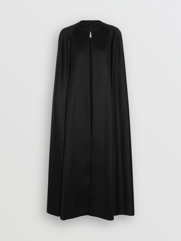 Long Doeskin Wool Cape in Black - Women | Burberry United Kingdom - cell image 3