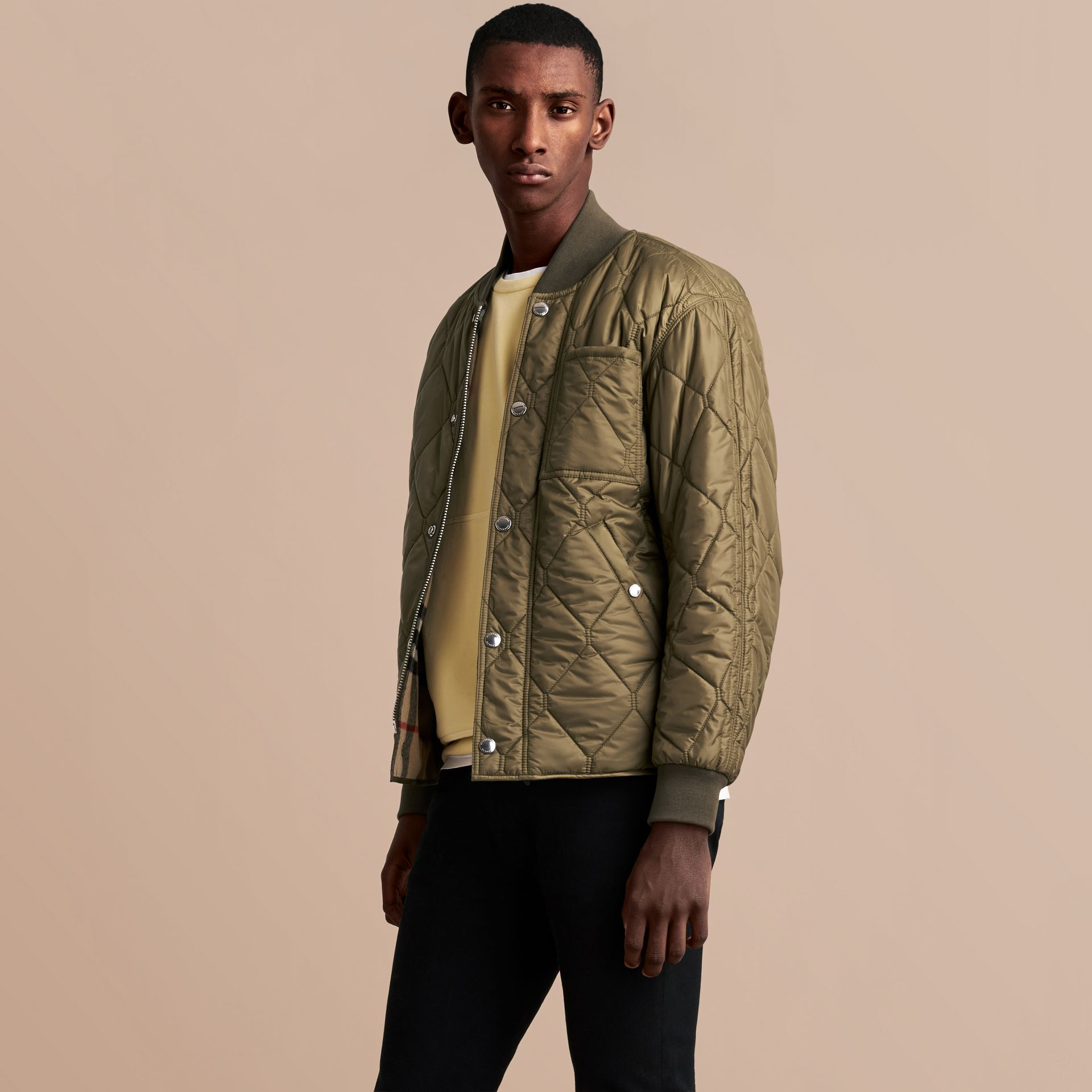 Quilted Bomber Jacket in Khaki - Men | Burberry - gallery image 6