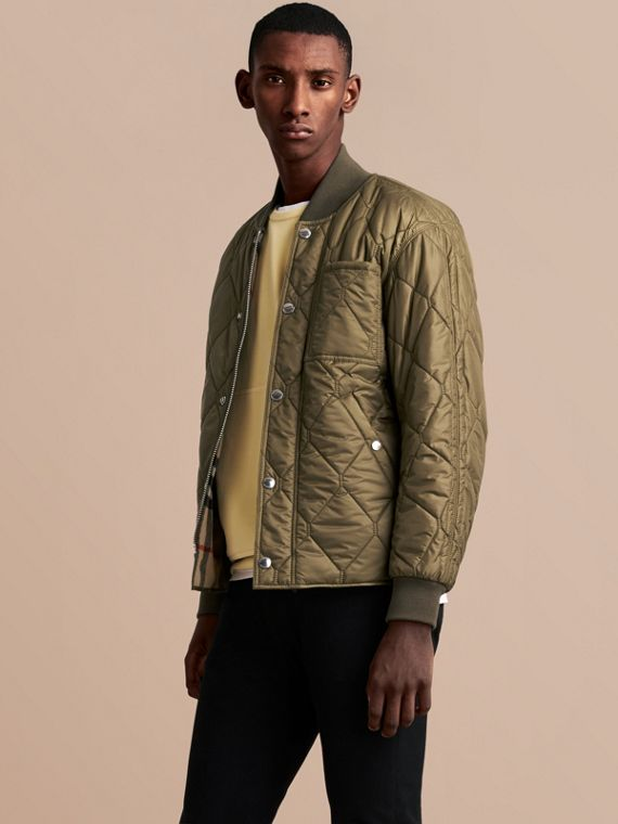 Quilted Bomber Jacket in Khaki - Men | Burberry