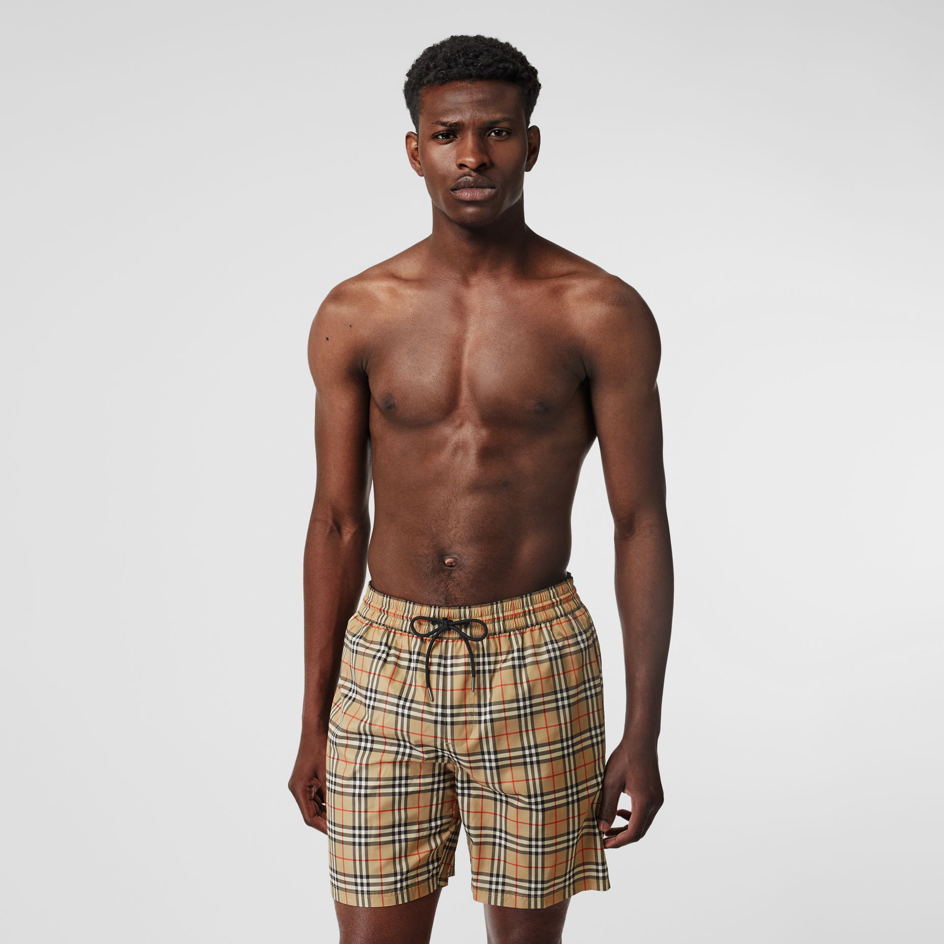 Small Scale Check Drawcord Swim Shorts in Archive Beige - Men | Burberry Singapore - gallery image 0