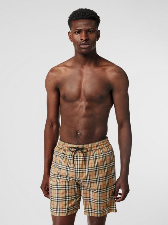 Small Scale Check Drawcord Swim Shorts in Archive Beige
