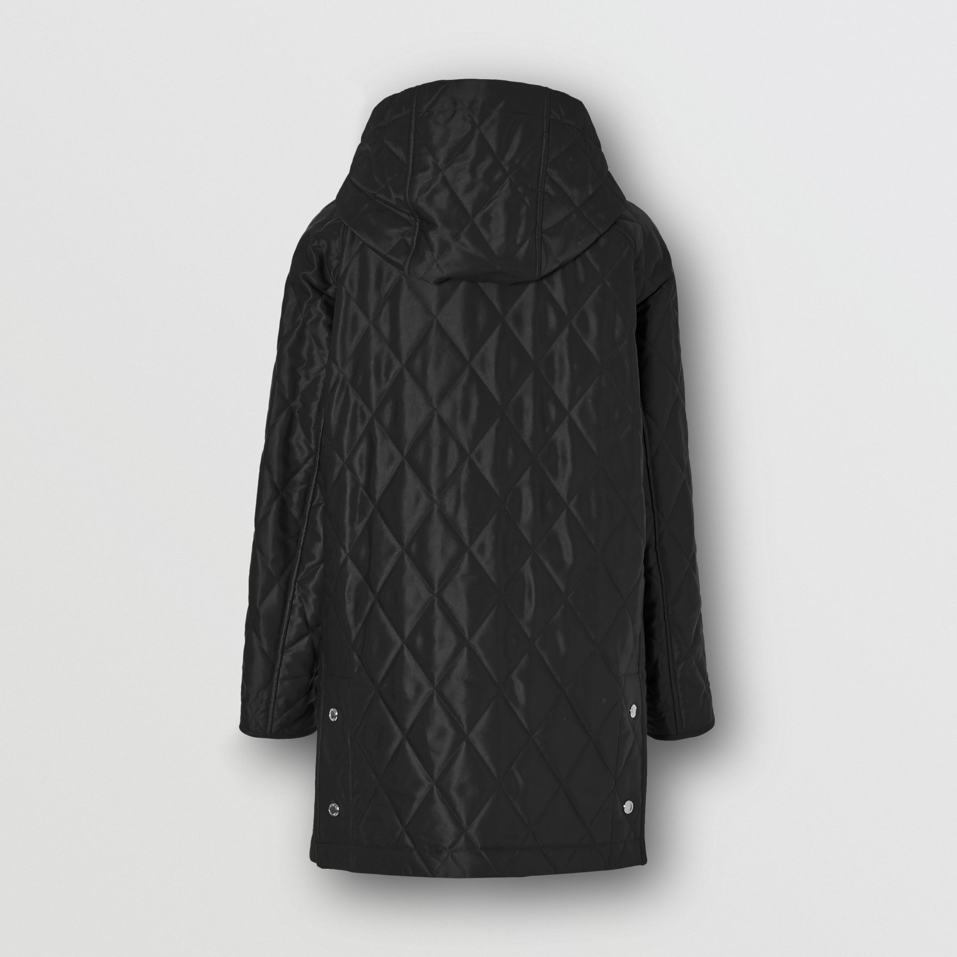 Diamond Quilted Cotton Blend Hooded Coat in Black - Women | Burberry - gallery image 6