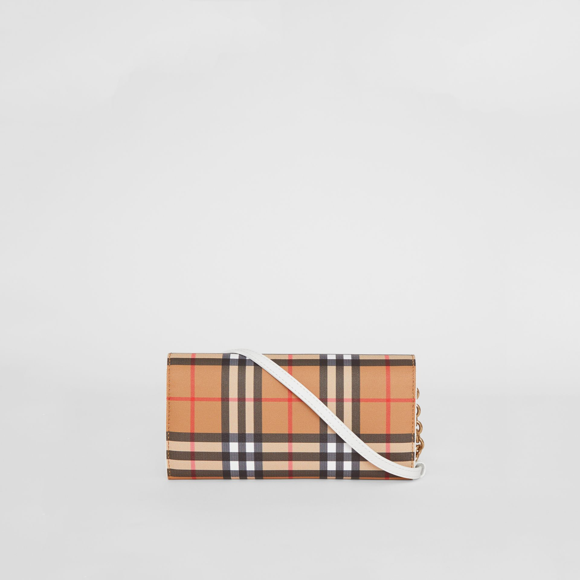 Vintage Check and Leather Wallet with Chain in Chalk White - Women | Burberry Canada - gallery image 7