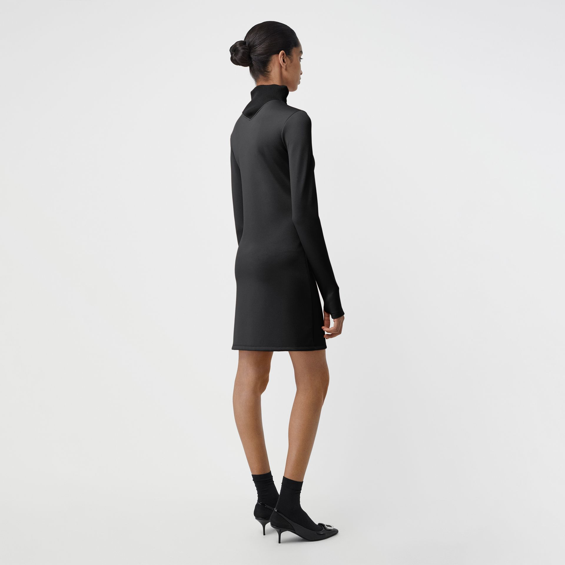 Zip Detail Funnel Neck Mini Dress in Black - Women | Burberry - gallery image 2