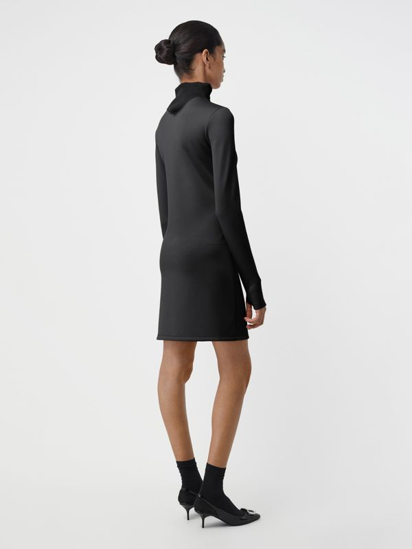 Zip Detail Funnel Neck Mini Dress in Black - Women | Burberry - cell image 2
