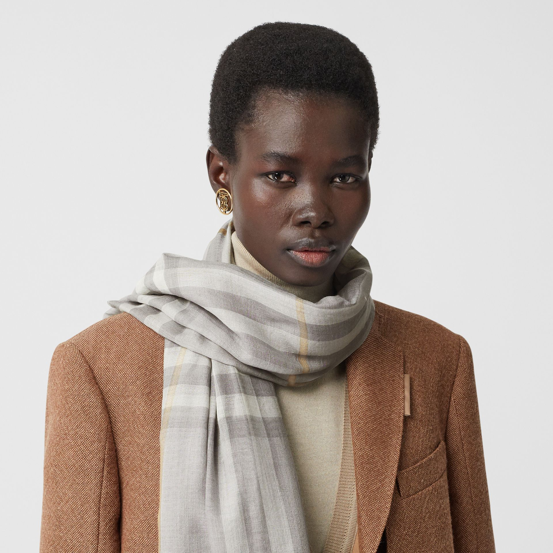 Lightweight Check Wool Silk Scarf in Light Grey | Burberry - gallery image 2