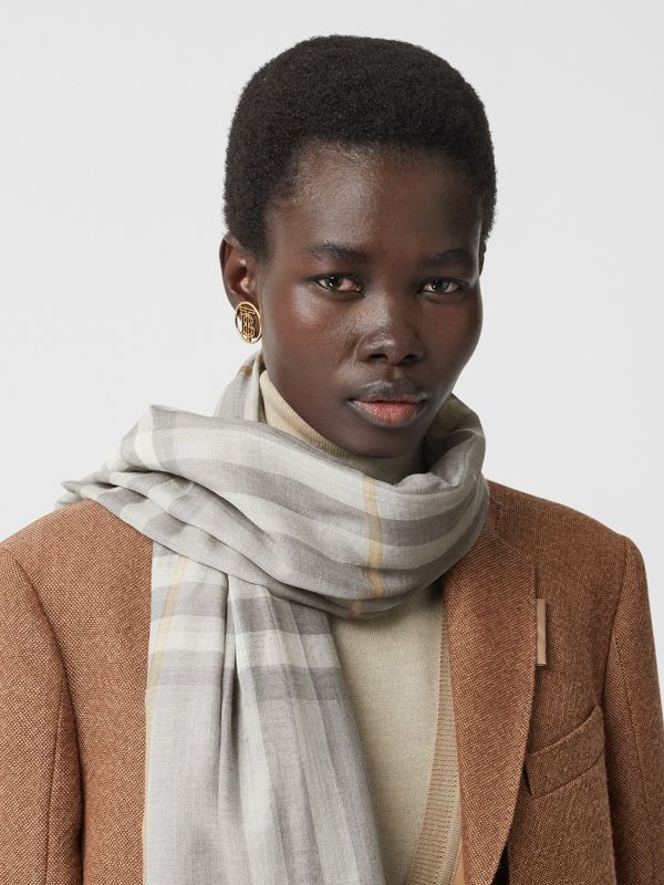 Lightweight Check Wool Silk Scarf in Light Grey | Burberry - cell image 2
