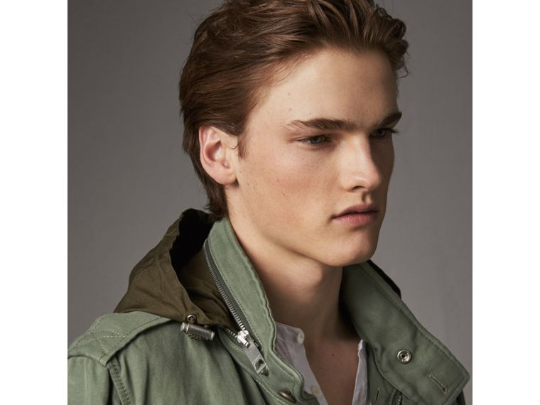 Packaway Hood Cotton Field Jacket with Fur Warmer in Slate Green - Men | Burberry United Kingdom - cell image 4