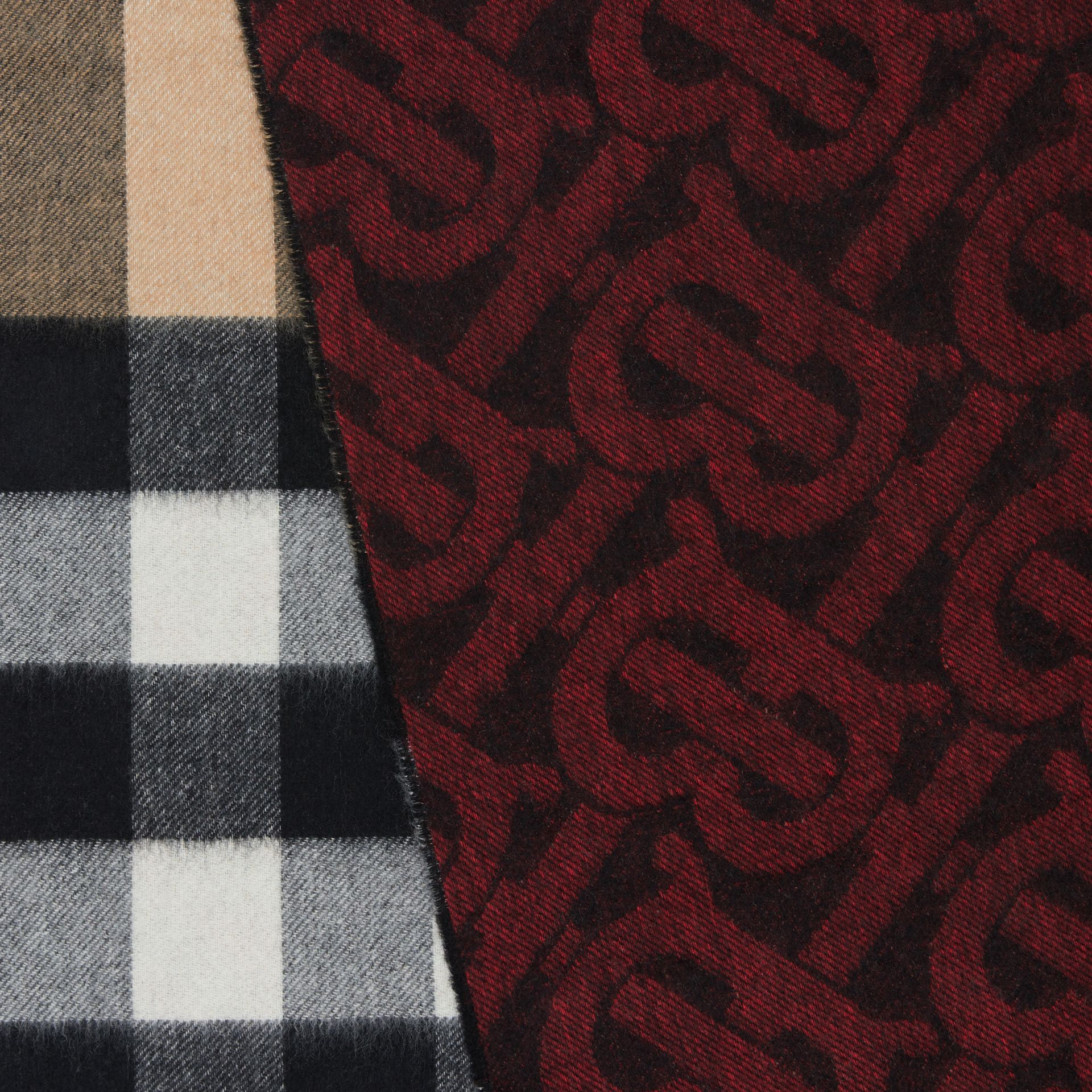 Reversible Check and Monogram Cashmere Scarf in Bright Red | Burberry - gallery image 1