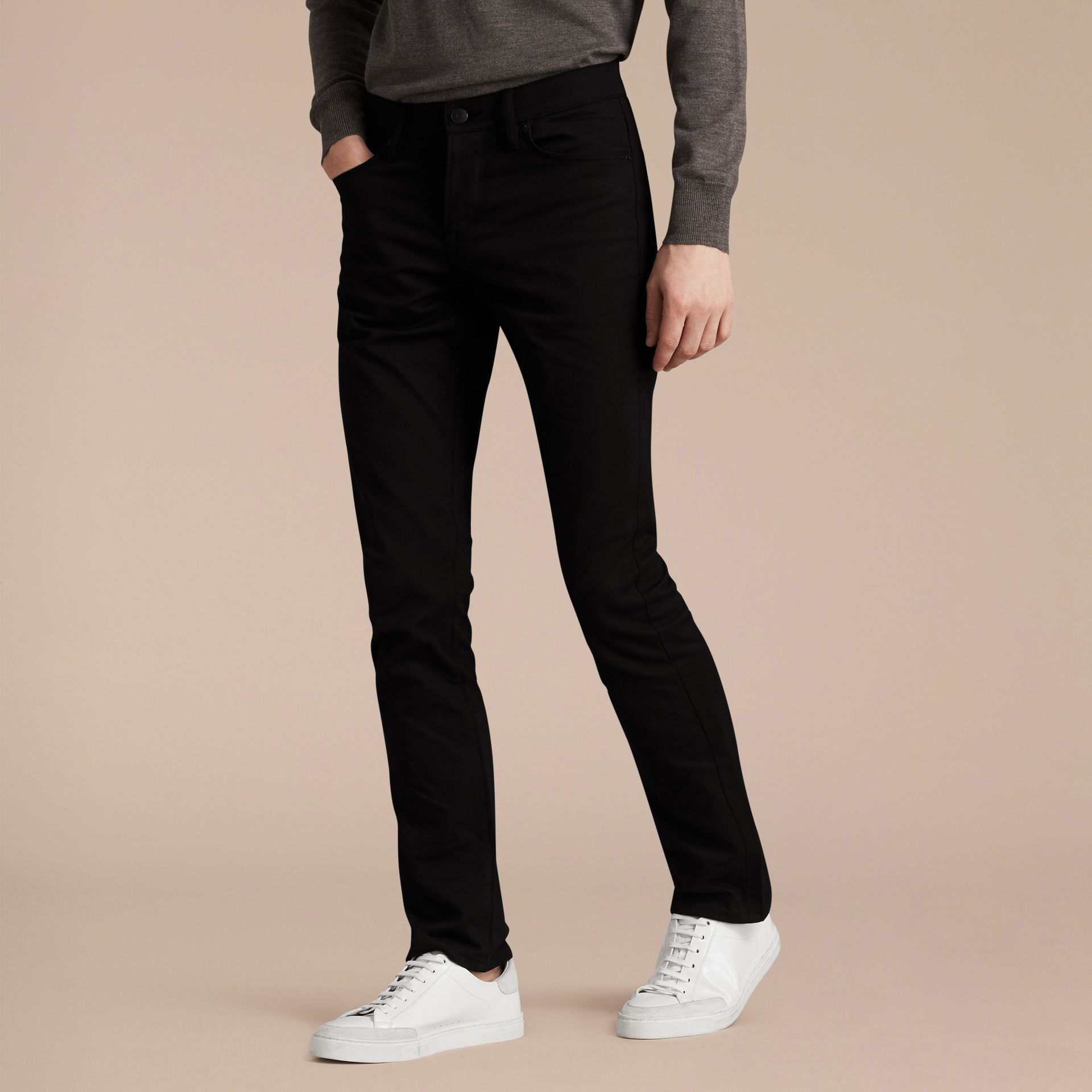 Straight Fit Unwashed Stretch Denim Jeans - Men | Burberry Canada - gallery image 7