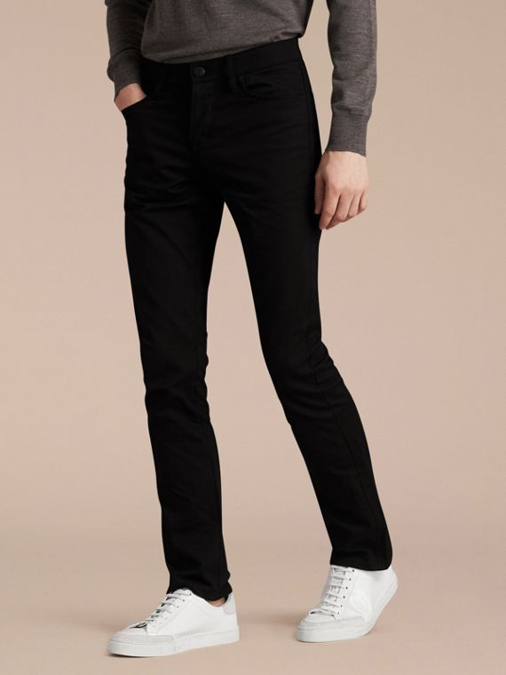 Straight Fit Unwashed Stretch Denim Jeans - Men | Burberry