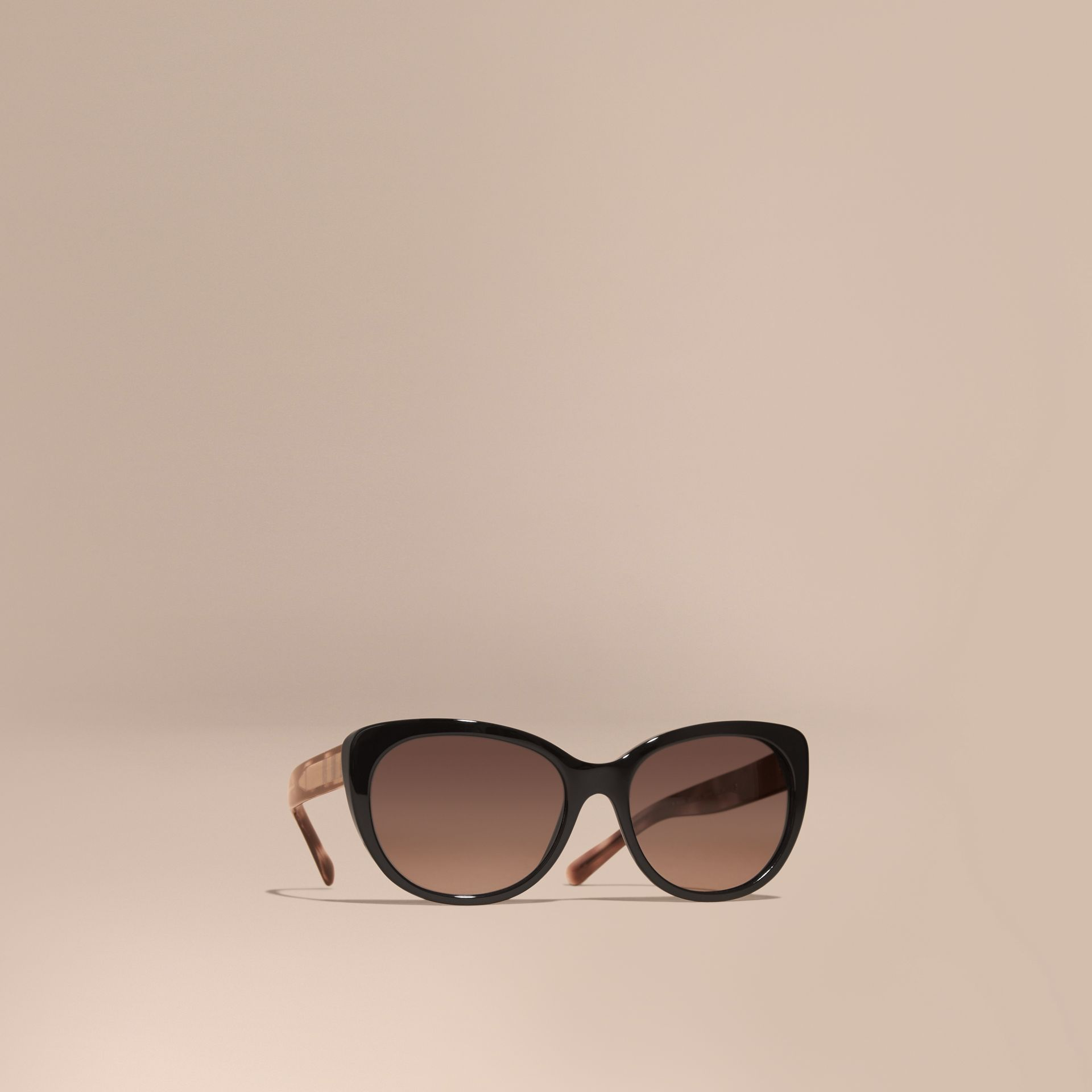Check Detail Cat-eye Sunglasses in Black - Women | Burberry Australia - gallery image 1