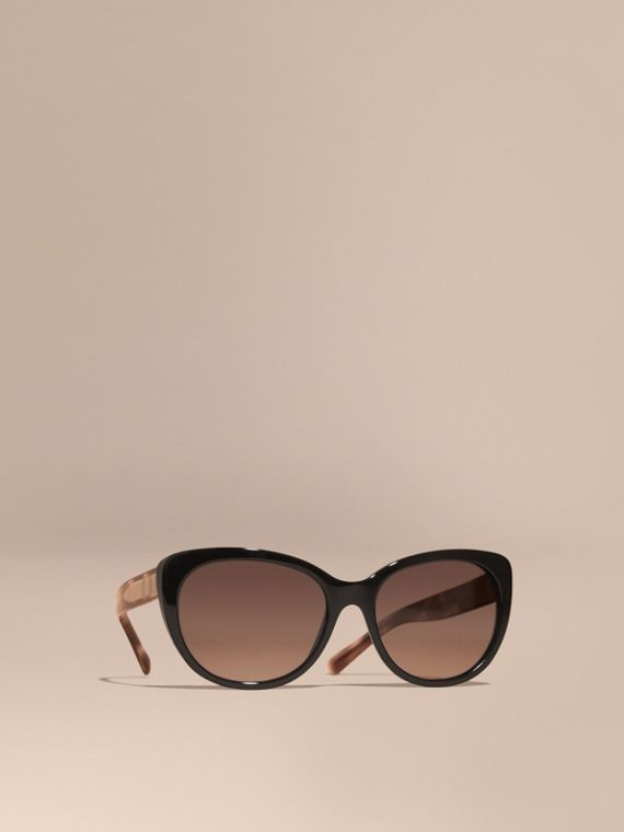 Check Detail Cat-eye Sunglasses in Black - Women | Burberry