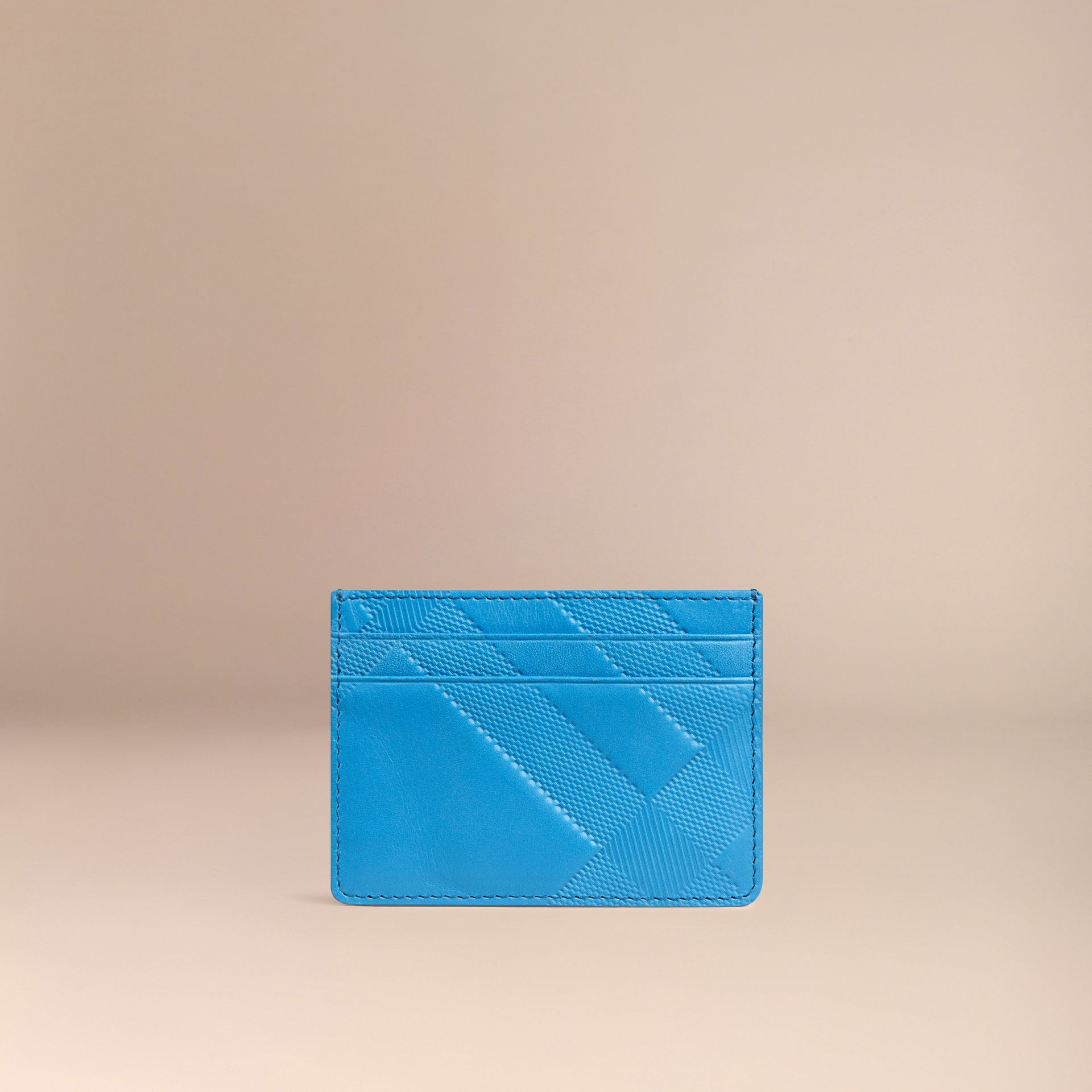 Blue azure Check Embossed Leather Card Case Blue Azure - gallery image 3