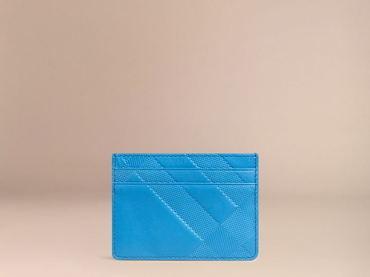 Blue azure Check Embossed Leather Card Case Blue Azure - cell image 2