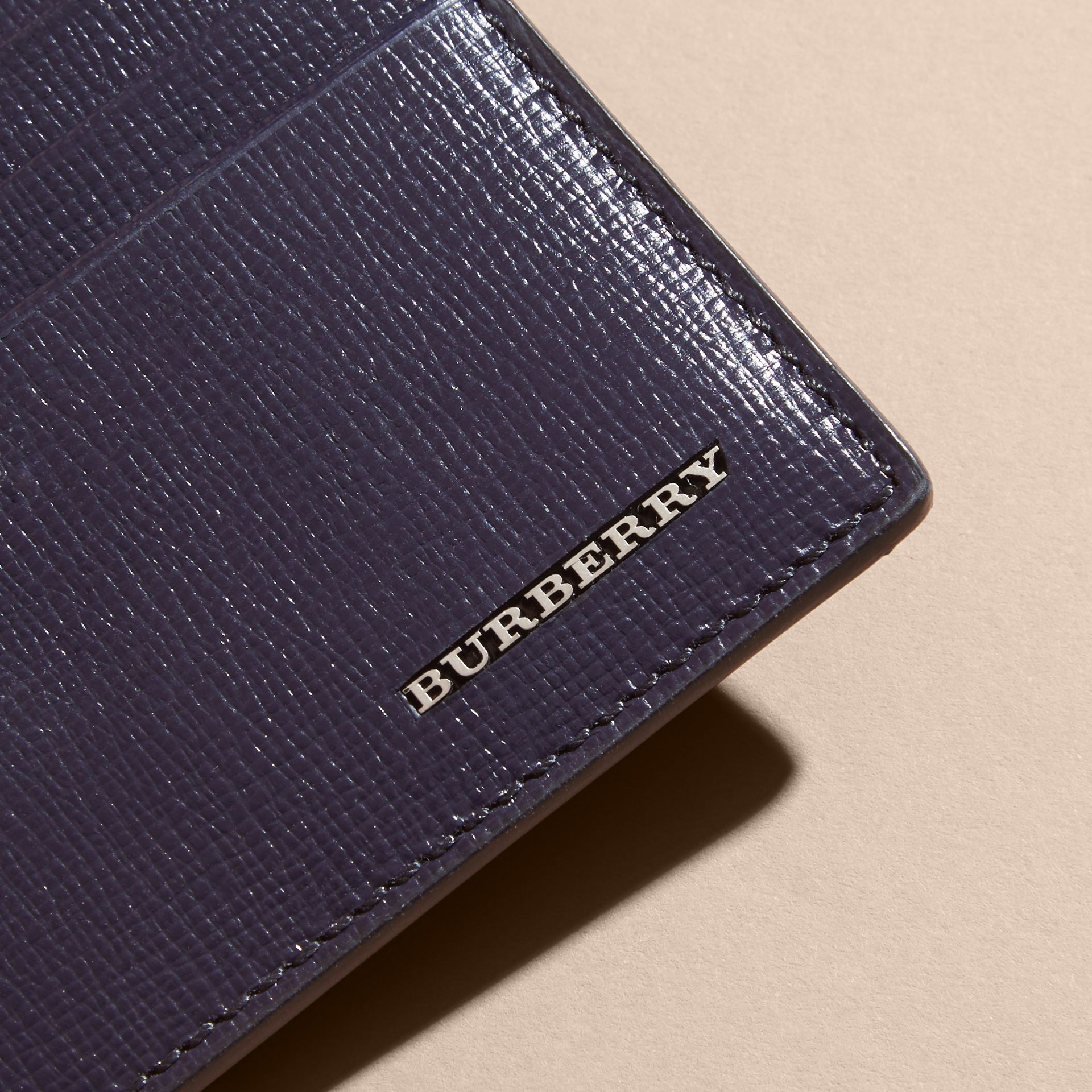 London Leather Card Case in Dark Navy | Burberry - gallery image 4