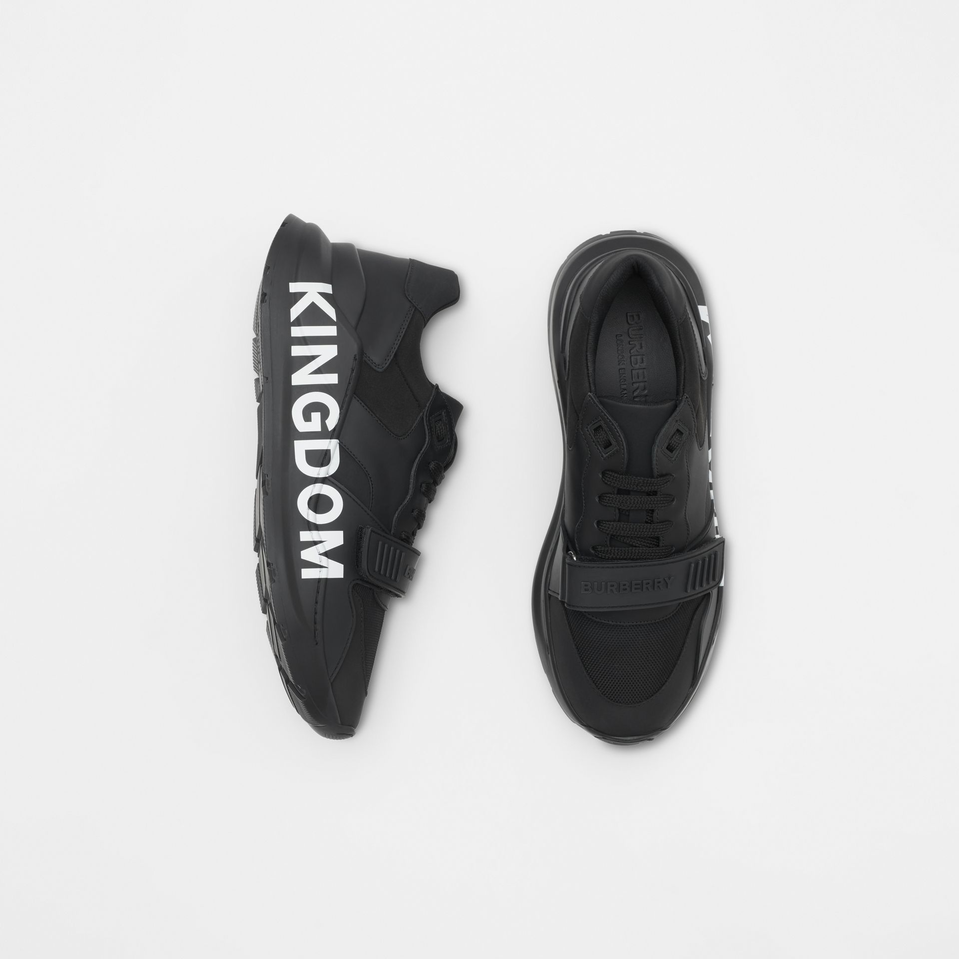 Kingdom Print Neoprene and Leather Sneakers in Black - Men | Burberry United States - gallery image 0