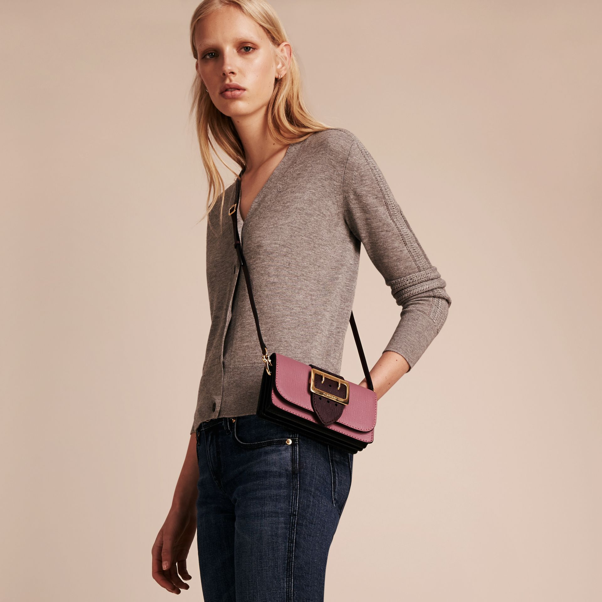 Dusky pink/ burgundy The Small Buckle Bag in Textured Leather Dusky Pink/ Burgundy - gallery image 3