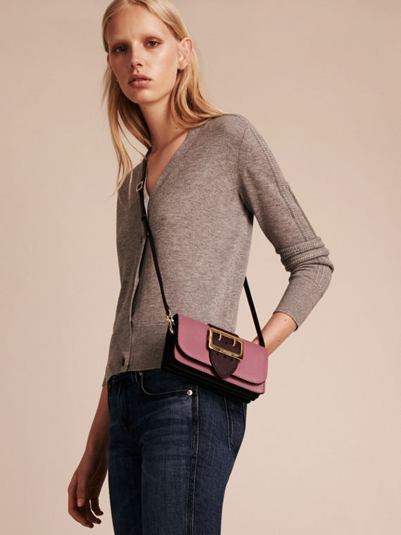 The Small Buckle Bag in Textured Leather Dusky Pink/ Burgundy - cell image 2