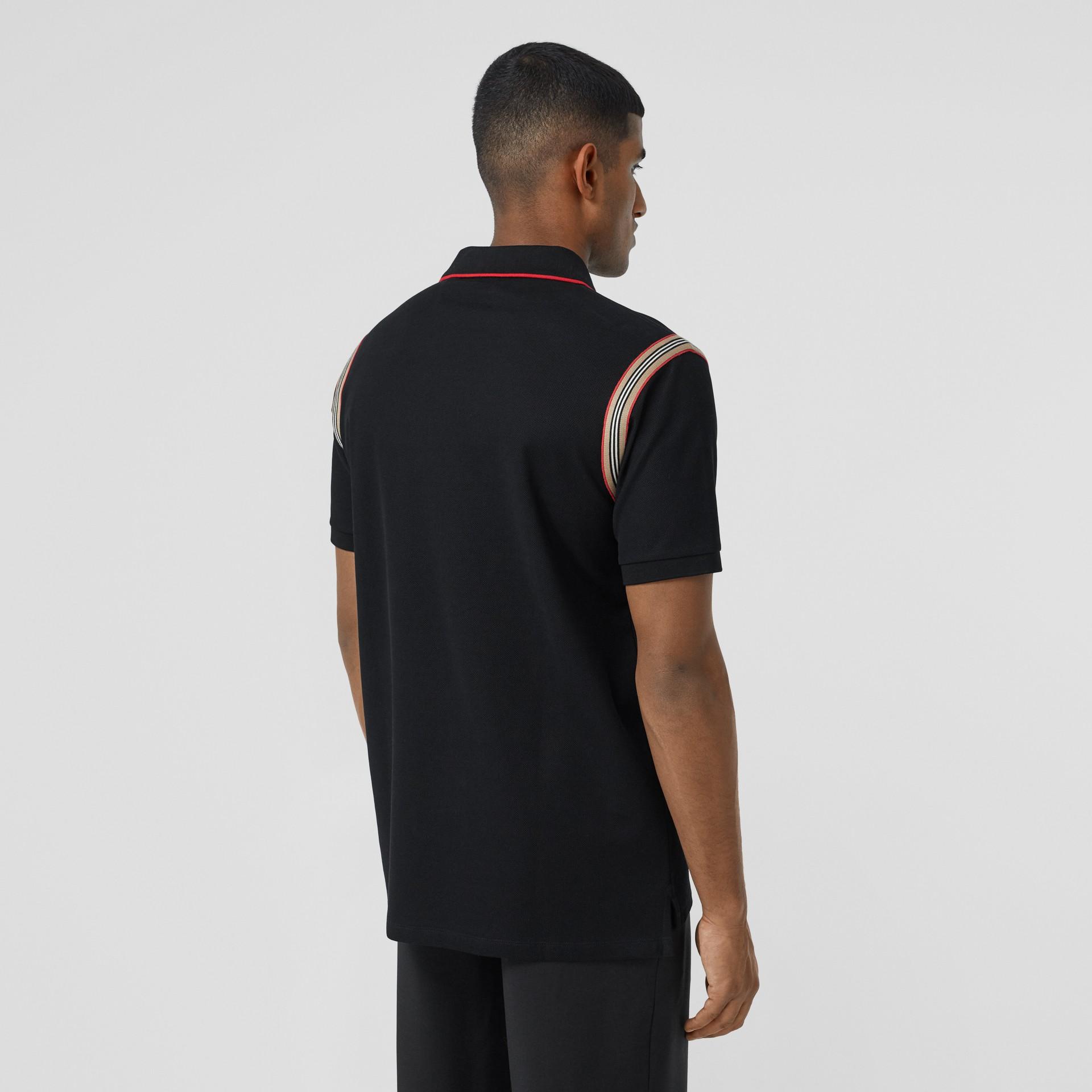 Icon Stripe Trim Monogram Motif Cotton Polo Shirt in Black - Men | Burberry - gallery image 2