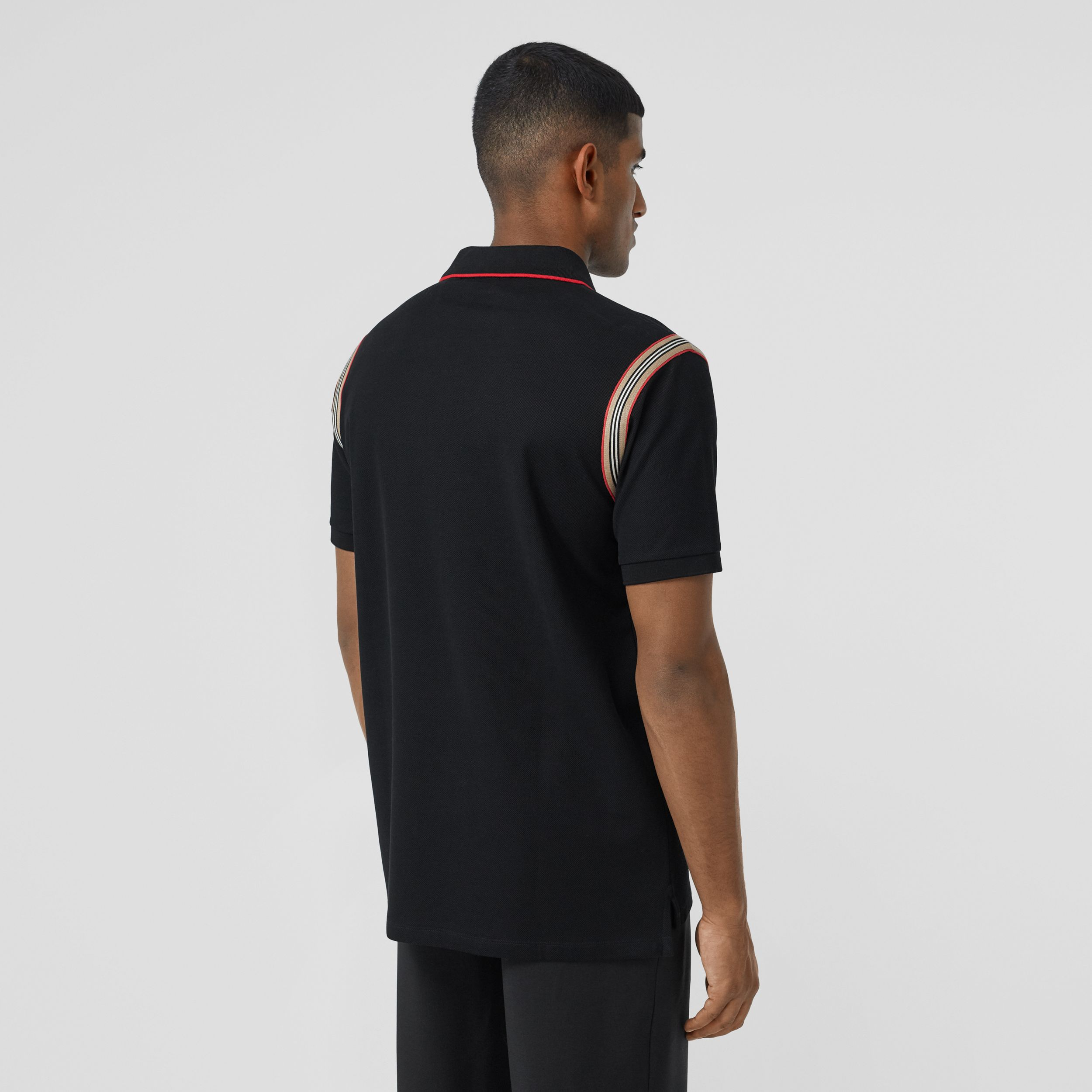 Icon Stripe Trim Monogram Motif Cotton Polo Shirt in Black - Men | Burberry - 3
