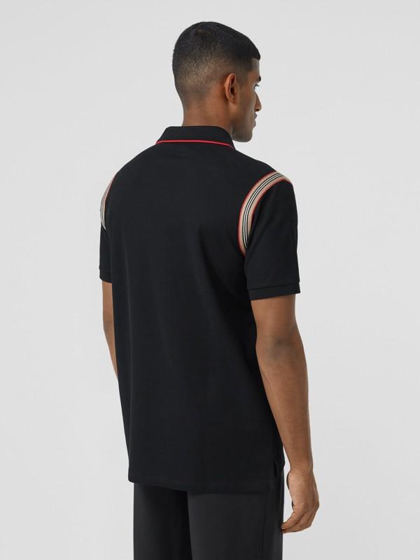Icon Stripe Trim Monogram Motif Cotton Polo Shirt in Black - Men | Burberry - cell image 2