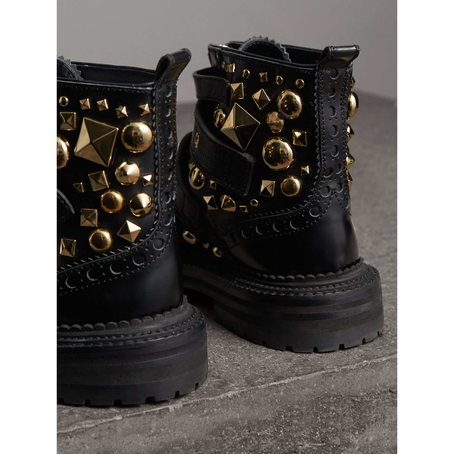 Studded Leather Brogue Ankle Boots in Black | Burberry - gallery image 3