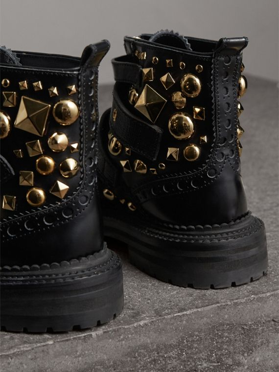 Studded Leather Brogue Ankle Boots in Black - Women | Burberry Singapore - cell image 3