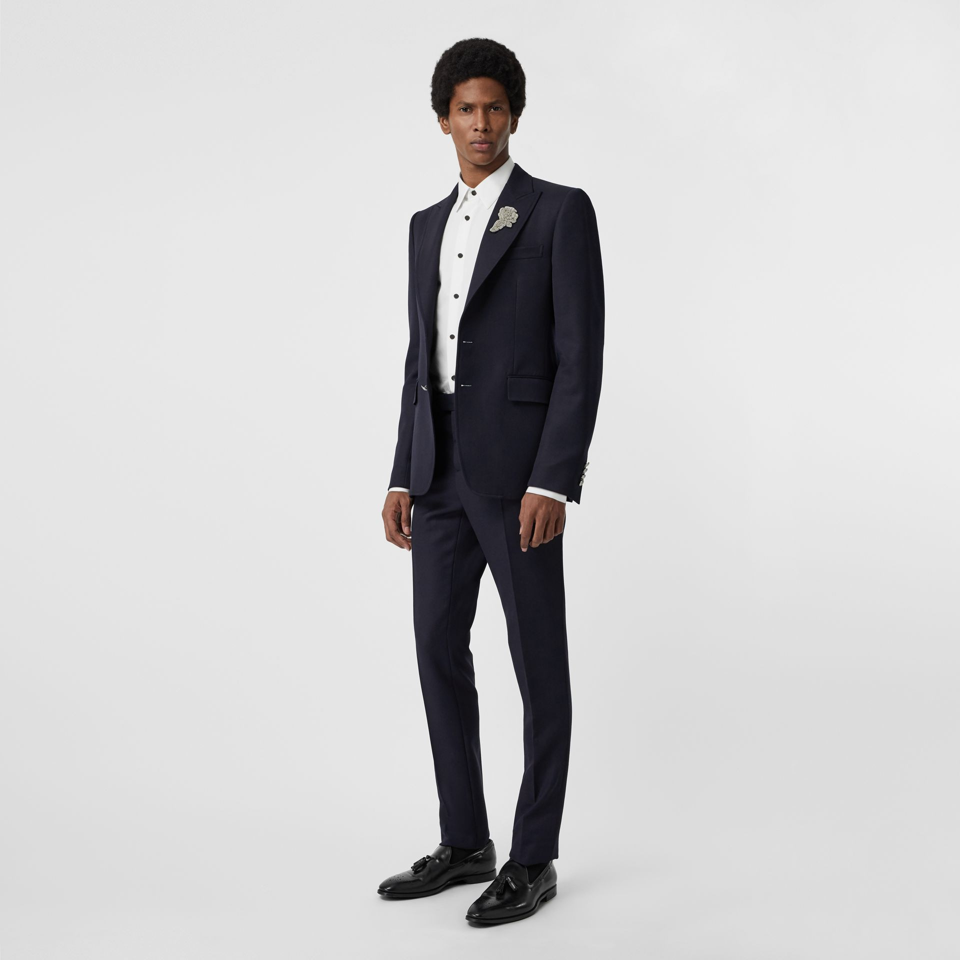 Slim Fit Wool Twill Tailored Trousers in Navy - Men | Burberry - gallery image 0