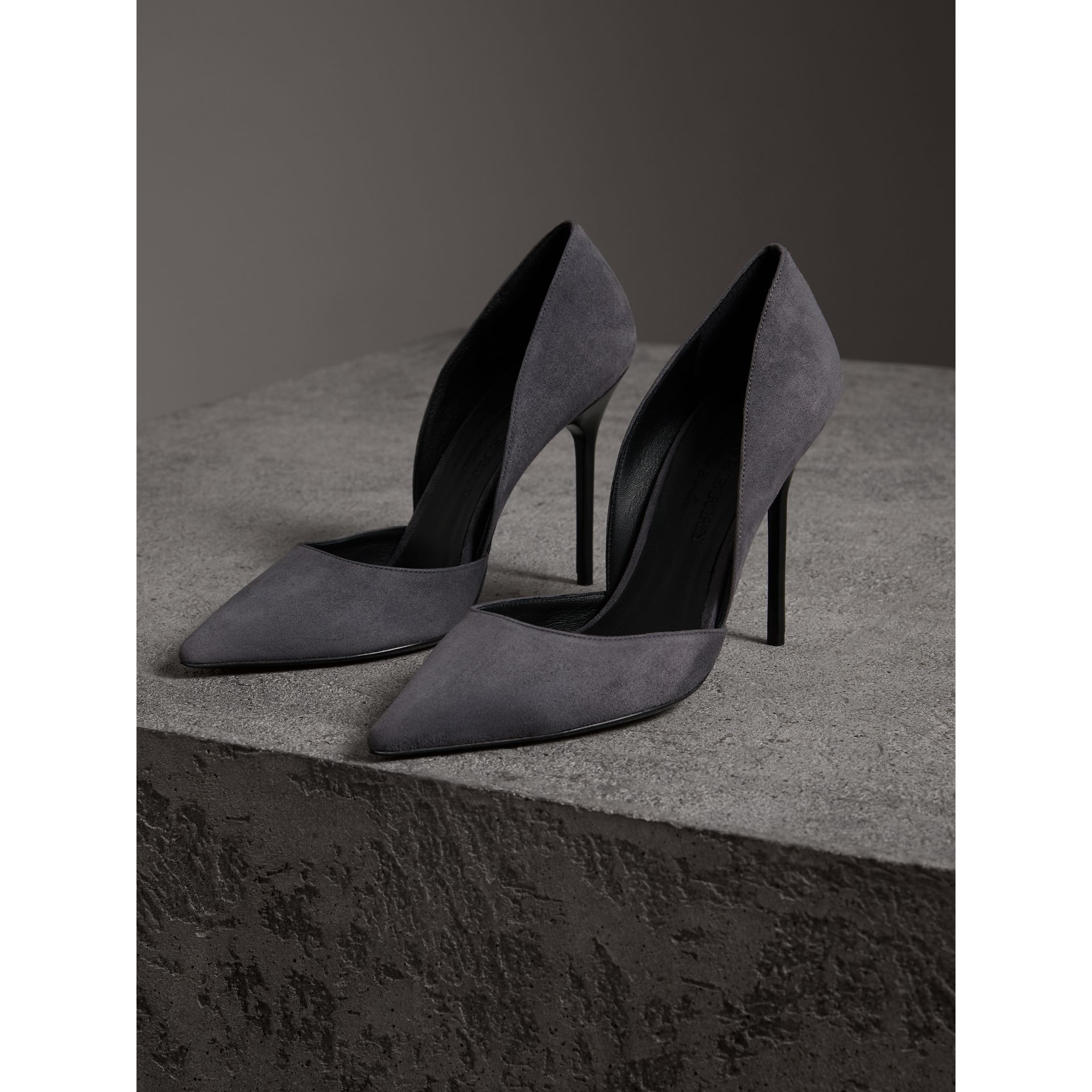 Cutaway Suede Pumps in Grey Navy - Women | Burberry United Kingdom - gallery image 3