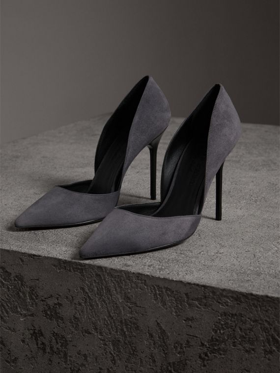 Cutaway Suede Pumps in Grey Navy - Women | Burberry Canada - cell image 3