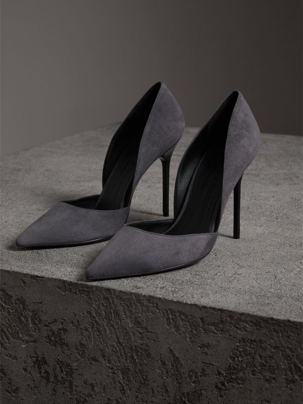 Cutaway Suede Pumps in Grey - Women | Burberry - cell image 3
