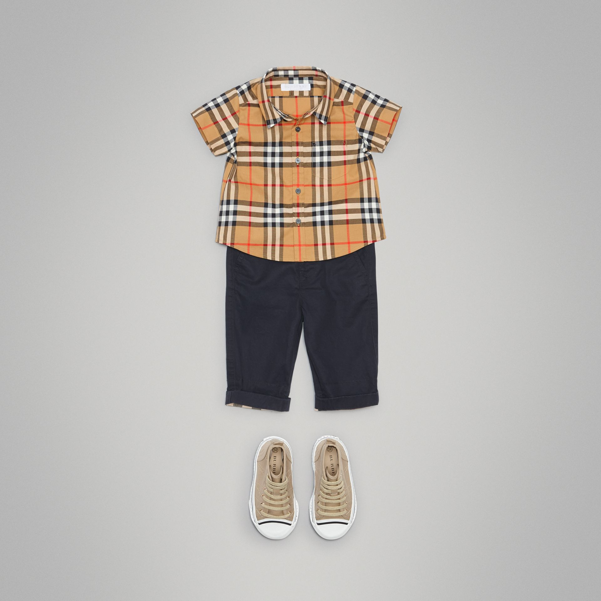 Cotton Twill Chinos in Ink - Children | Burberry Australia - gallery image 2