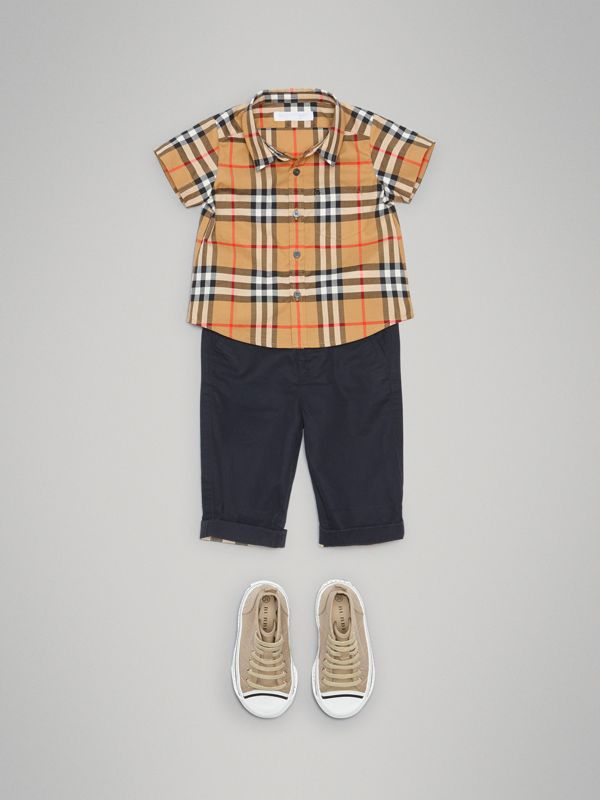 Cotton Twill Chinos in Ink - Children | Burberry - cell image 2