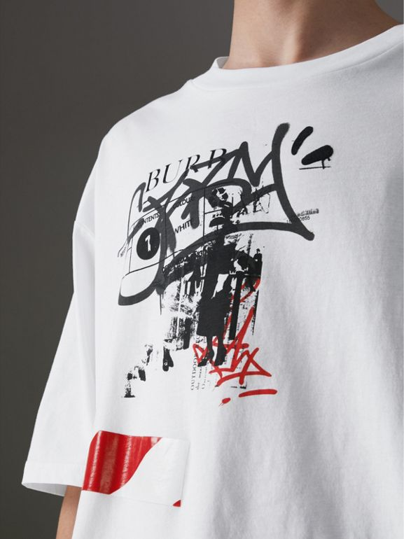 Graffitied Ticket Print Cotton T-shirt in White - Men | Burberry - cell image 1