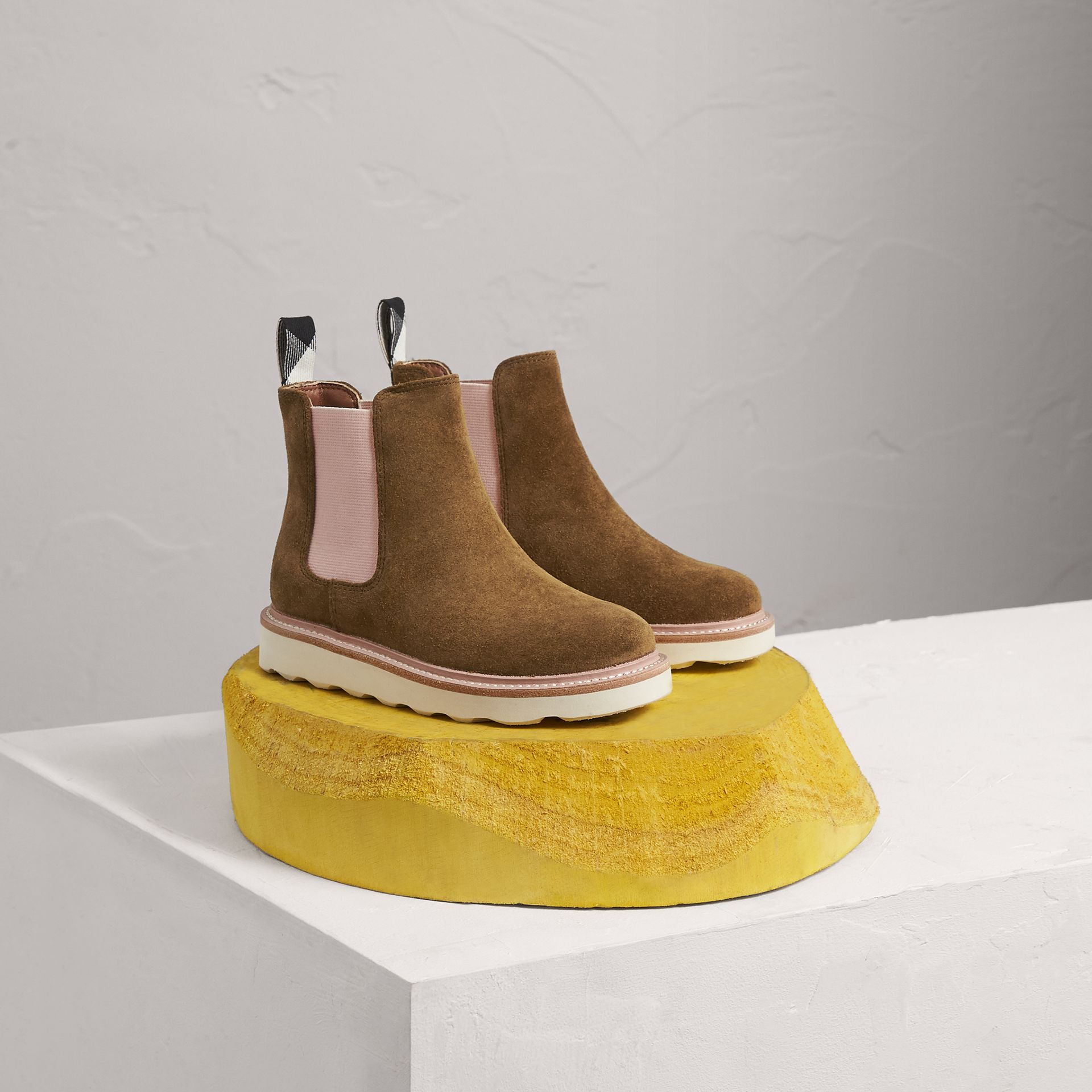 Two-tone Suede Chelsea Boots in Sandstone - Girl | Burberry Singapore - gallery image 0