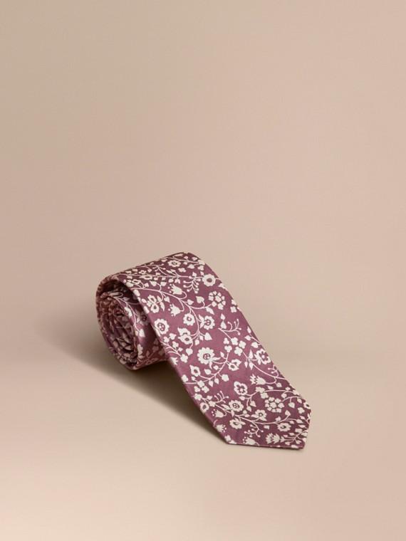 Cravate jacquard moderne en soie à motif floral Rose Pink