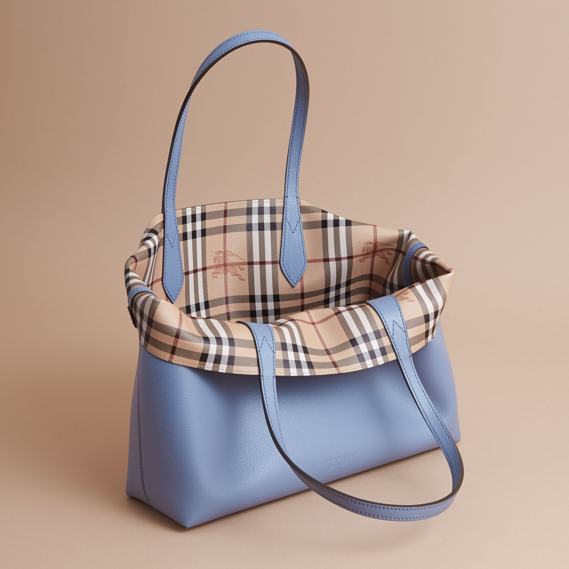 The Medium Reversible Tote in Haymarket Check and Leather Slate Blue - gallery image 6