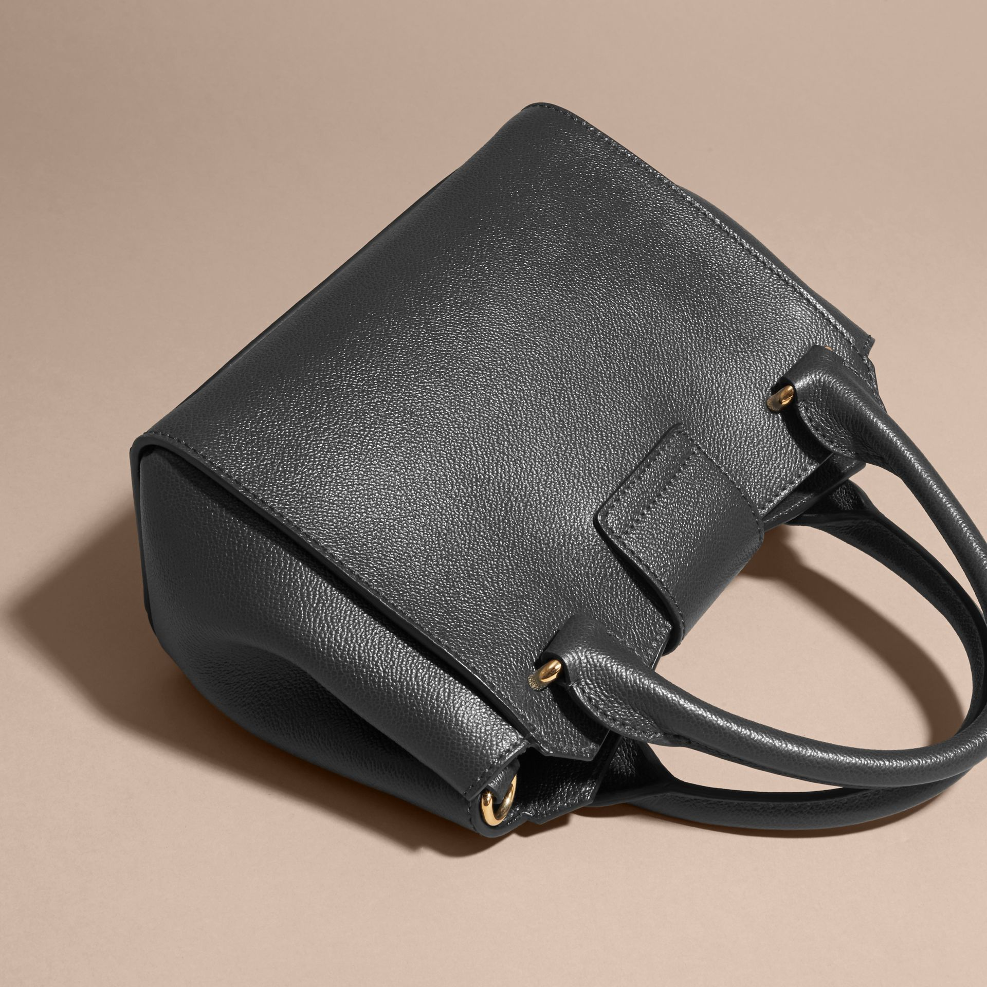 The Small Buckle Tote in Grainy Leather Black - gallery image 5