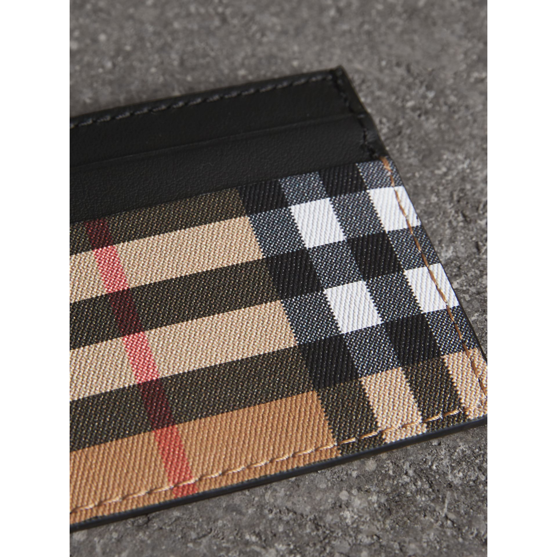 Vintage Check Leather Card Case in Black | Burberry United States - gallery image 1