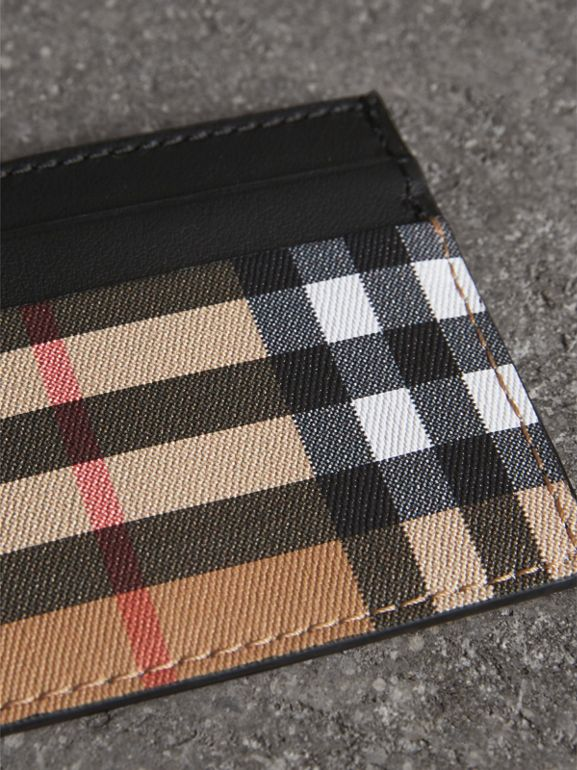 Vintage Check Leather Card Case in Black | Burberry United States - cell image 1