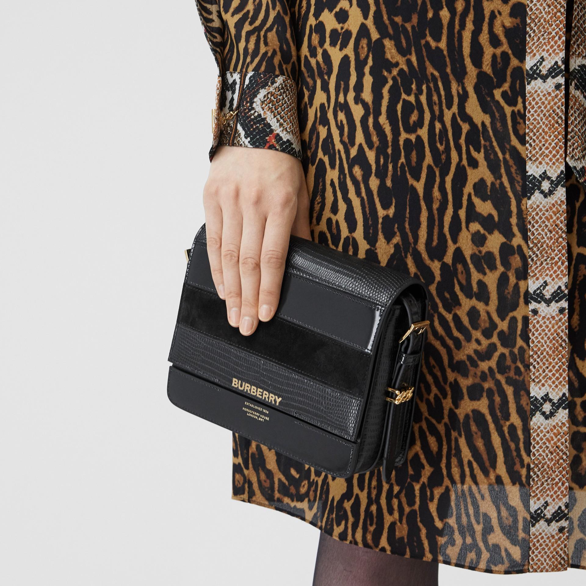 Petit sac Grace en cuir de cerf et cuir velours (Noir) - Femme | Burberry - photo de la galerie 8
