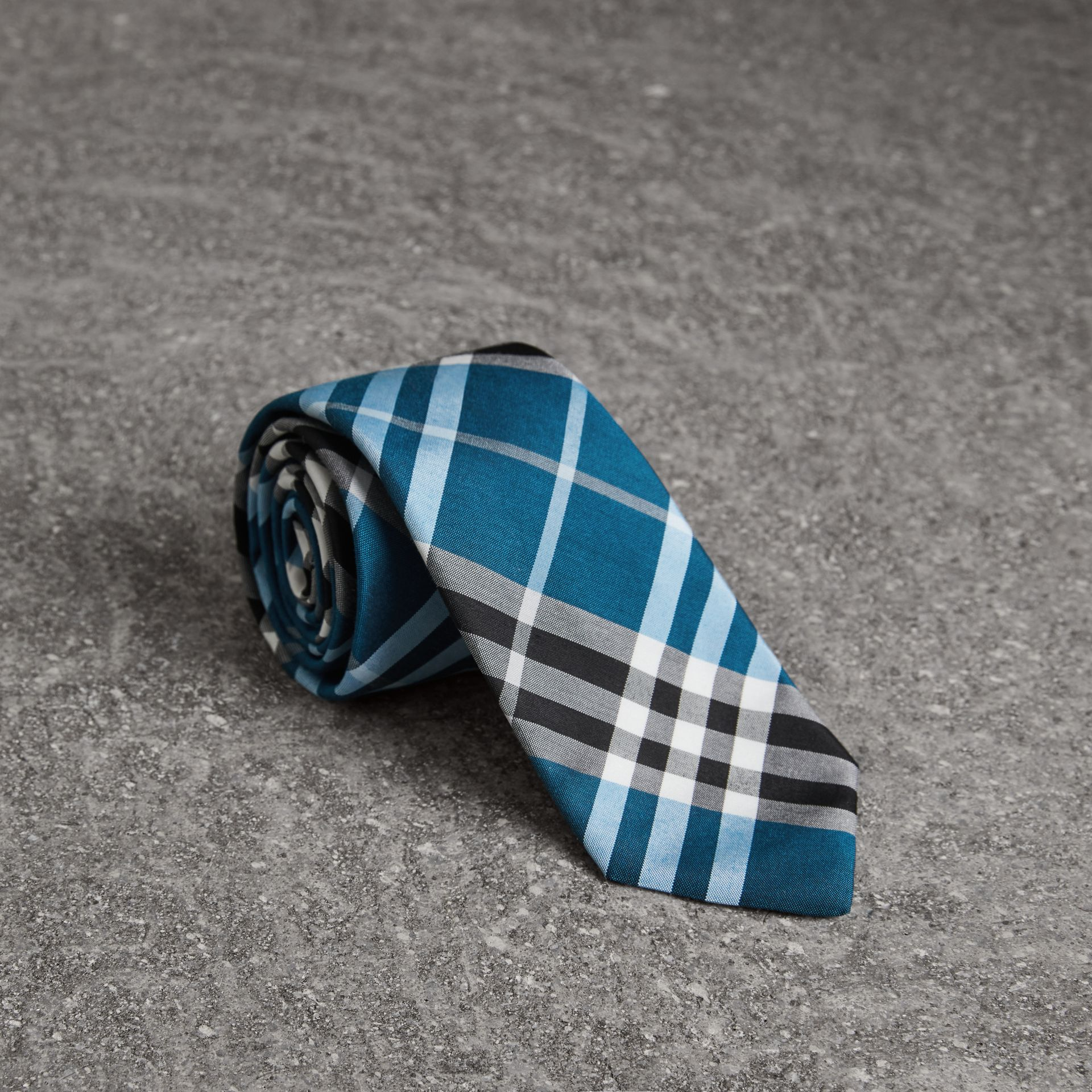 Modern Cut Check Silk Tie in Bright Cobalt - Men | Burberry - gallery image 0