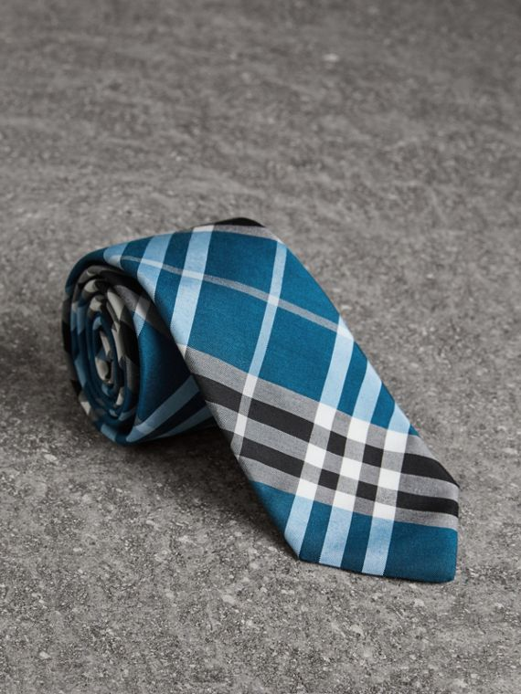 Modern Cut Check Silk Tie in Bright Cobalt